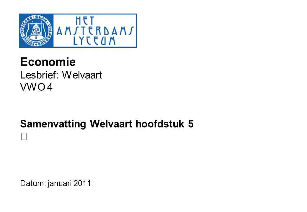 Economie Lesbrief: Welvaart VWO 4 Samenvatting Welvaart hoofdstuk 5 Datum: januari 2011
