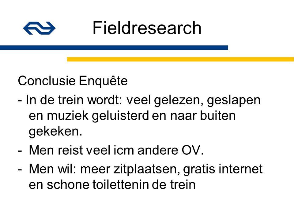 Fieldresearch Conclusie Enquête - In de trein wordt: veel gelezen, geslapen en muziek geluisterd en naar buiten gekeken.