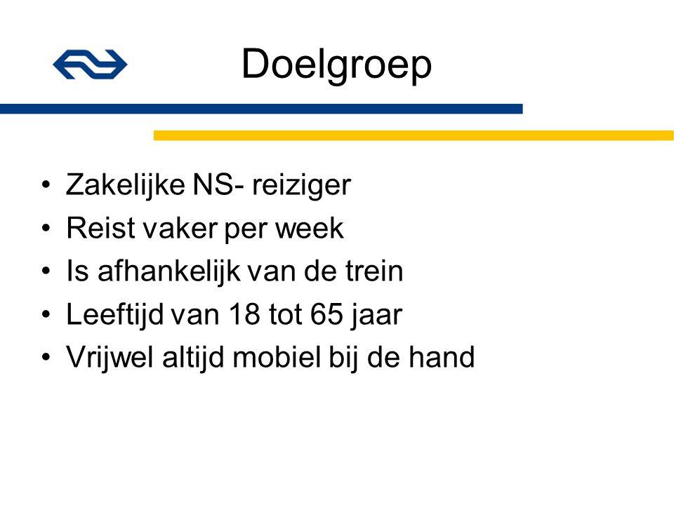 Doelgroep Zakelijke NS- reiziger Reist vaker per week Is afhankelijk van de trein Leeftijd van 18 tot 65 jaar Vrijwel altijd mobiel bij de hand