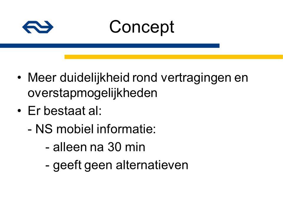 Concept Meer duidelijkheid rond vertragingen en overstapmogelijkheden Er bestaat al: - NS mobiel informatie: - alleen na 30 min - geeft geen alternatieven