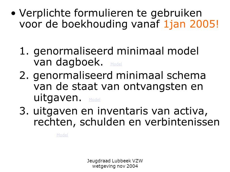 Jeugdraad Lubbeek VZW wetgeving nov 2004 Verplichte formulieren te gebruiken voor de boekhouding vanaf 1jan 2005.