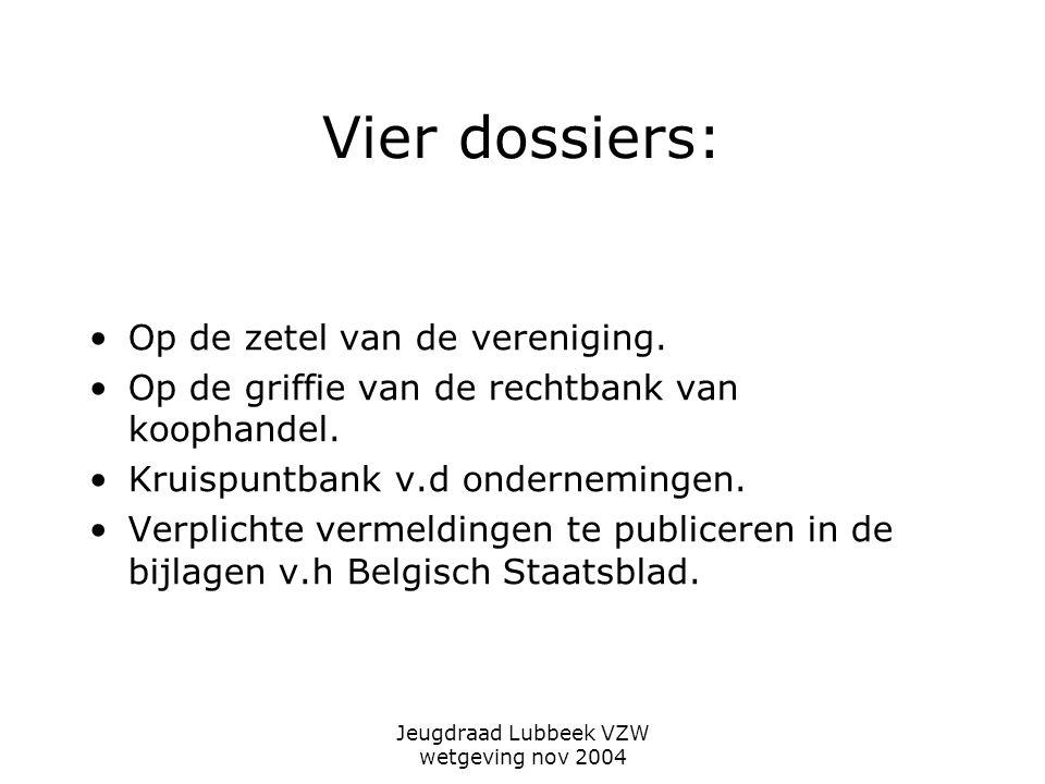 Jeugdraad Lubbeek VZW wetgeving nov 2004 Vier dossiers: Op de zetel van de vereniging.