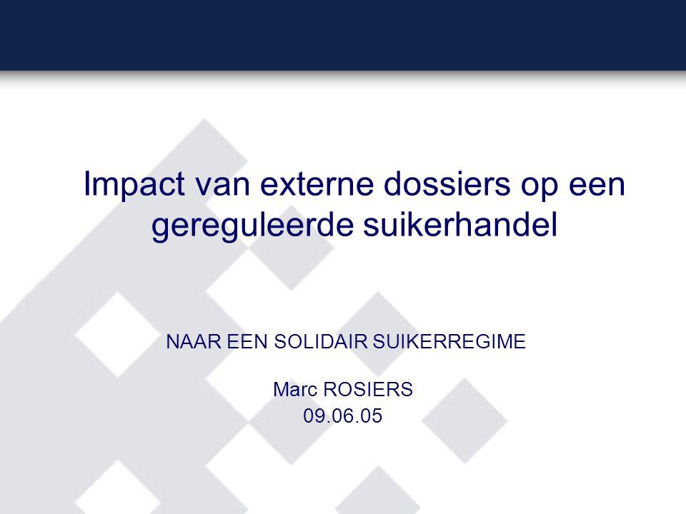 Impact van externe dossiers op een gereguleerde suikerhandel NAAR EEN SOLIDAIR SUIKERREGIME Marc ROSIERS 09.06.05
