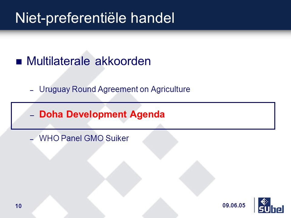 09.06.05 10 n Multilaterale akkoorden – Uruguay Round Agreement on Agriculture – Doha Development Agenda – WHO Panel GMO Suiker Niet-preferentiële handel