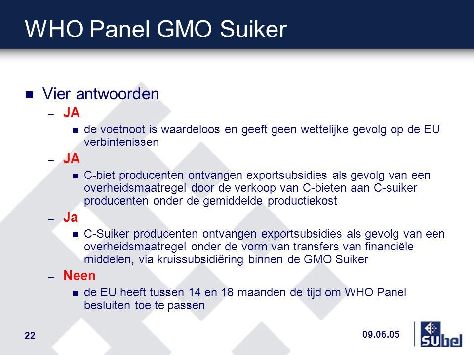 09.06.05 22 WHO Panel GMO Suiker n Vier antwoorden – JA n de voetnoot is waardeloos en geeft geen wettelijke gevolg op de EU verbintenissen – JA n C-b