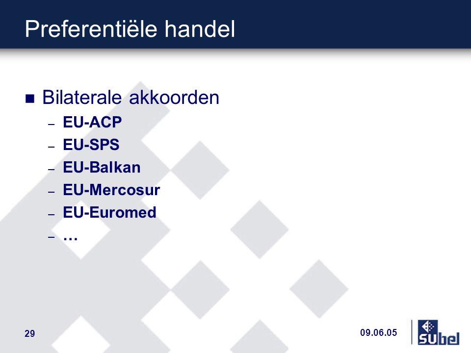 09.06.05 29 Preferentiële handel n Bilaterale akkoorden – EU-ACP – EU-SPS – EU-Balkan – EU-Mercosur – EU-Euromed – …