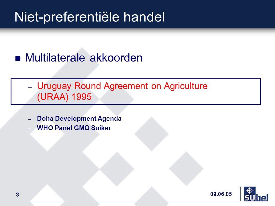 09.06.05 14 DDA - Uitvoerconcurrentie n Kaderakkoord van juli 2004 – Uitvoerconcurrentie - algemeen n Afschaffing van de uitvoerrestituties parallel met de afschaffing van vergelijkbare praktijken zoals exportkredieten, voedsel-hulp en state trading entreprises – Uitvoerconcurrentie - suiker n Afschaffing van de uitvoer met restituties – Onverwerkte suiker 1.273.500t -> 0 t periode : .