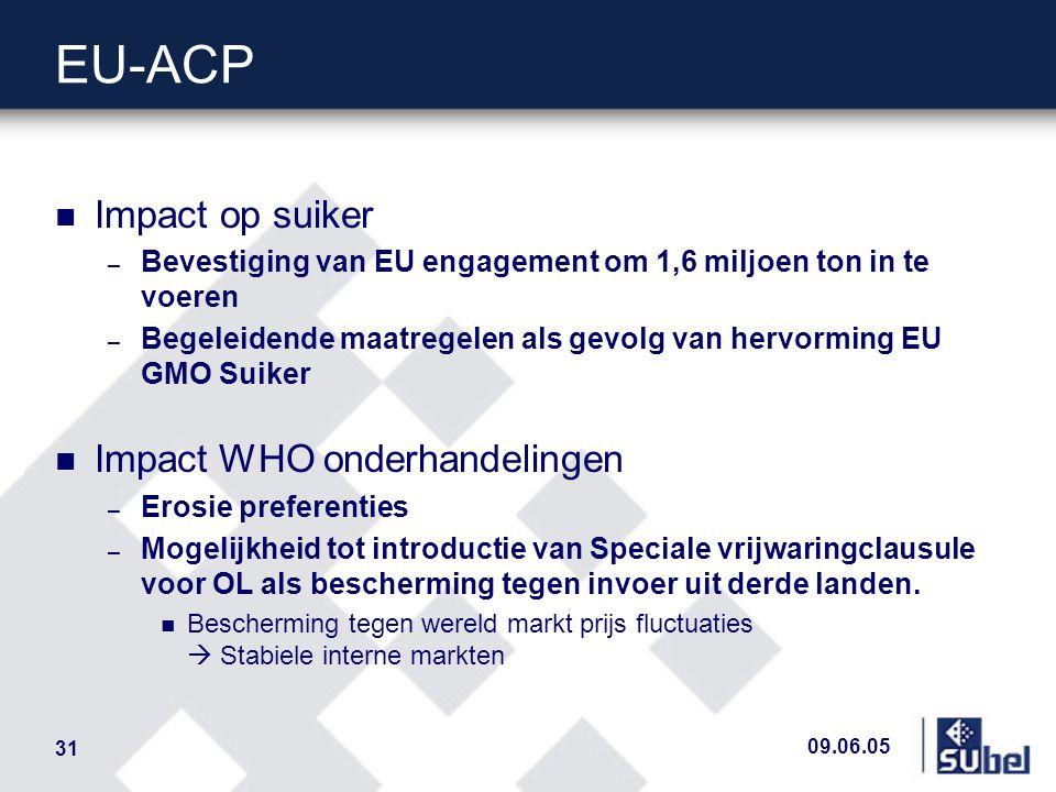 09.06.05 31 EU-ACP n Impact op suiker – Bevestiging van EU engagement om 1,6 miljoen ton in te voeren – Begeleidende maatregelen als gevolg van hervorming EU GMO Suiker n Impact WHO onderhandelingen – Erosie preferenties – Mogelijkheid tot introductie van Speciale vrijwaringclausule voor OL als bescherming tegen invoer uit derde landen.