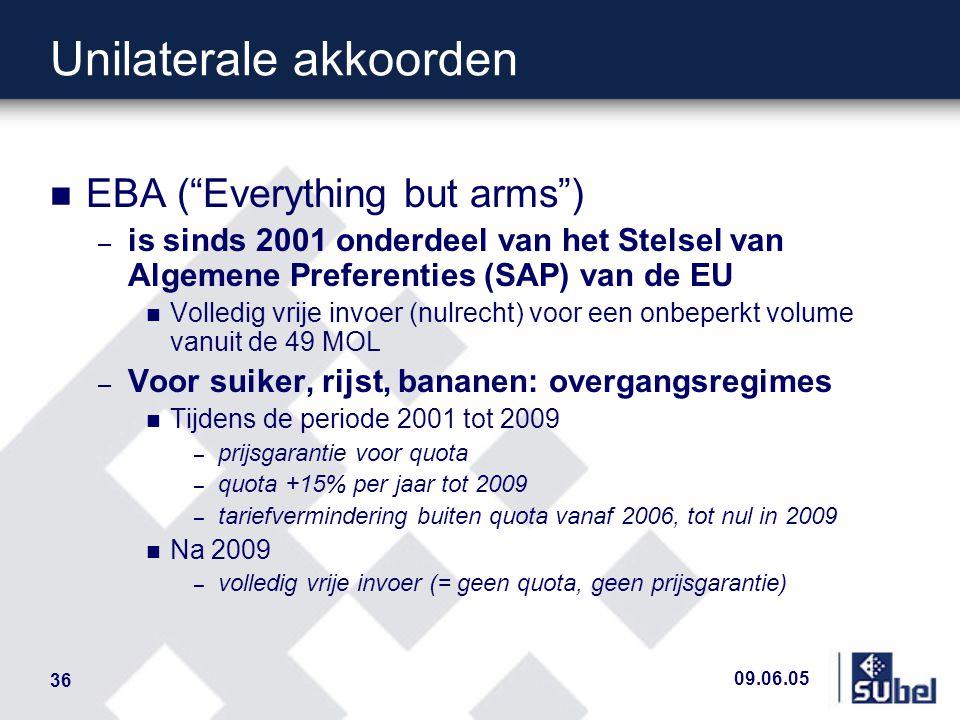 09.06.05 36 Unilaterale akkoorden n EBA ( Everything but arms ) – is sinds 2001 onderdeel van het Stelsel van Algemene Preferenties (SAP) van de EU n Volledig vrije invoer (nulrecht) voor een onbeperkt volume vanuit de 49 MOL – Voor suiker, rijst, bananen: overgangsregimes n Tijdens de periode 2001 tot 2009 – prijsgarantie voor quota – quota +15% per jaar tot 2009 – tariefvermindering buiten quota vanaf 2006, tot nul in 2009 n Na 2009 – volledig vrije invoer (= geen quota, geen prijsgarantie)