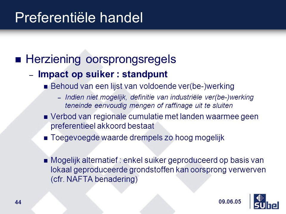 09.06.05 44 Preferentiële handel n Herziening oorsprongsregels – Impact op suiker : standpunt n Behoud van een lijst van voldoende ver(be-)werking – I
