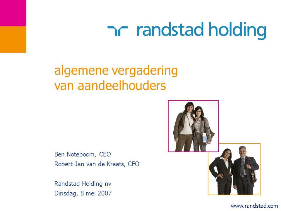 12 progressie binnen de groeistrategie prioriteiten in 2006 gehaald?bewijs organische groeiinvesteringen in groei  meer vestigingen 6% & FTE's 8% (autonoom) productiviteitverbeterd  operationele kosten omlaag (van 16.7% naar 15.8%) innovatiehoger aandeel HR solutions  67% omzet groei acquisitiescomplementaire acquisities nieuwe geografische gebieden specialisaties, nieuwe diensten integratie eerdere acquisities XX Bindan, Teccon Talent Shanghai, Team4U maar nog onvoldoende in Japan PinkRoccade HR Services MWA, EmmayHR, Gamma, Galilei ---belangrijkste doelstellingen reeds een jaar eerder behaald dan gepland--- EBITA margetussen 5-6%  EBITA marge 2006: 5,3% omzet uit specialisaties 30% van de totale omzet  30,1% van de totale omzet in 2006 niet-Nederlandse omzet verhogen outperformance solide financiële positie meer omzet buiten NL in alle markten gezonde financiële ratio s  omzet buiten NL als percentage van de groep is gegroeid 5% outperformance in onze belangrijkste markten in 2006 netto kaspositie € 250 miljoen