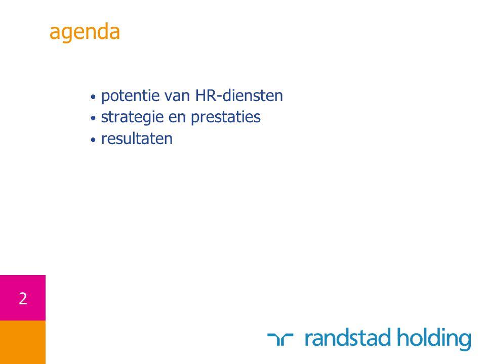 3 de HR-dienstenmarkt waarde HR-markt van ten minste € 200 miljard wereldwijd nog steeds een vrij gefragmenteerde markt aangezien de 4 grootste spelers samen verantwoordelijk zijn voor slechts 25% van de wereldwijde omzet regulier uitzenden is het meest voorkomend in de verschillende landen recruitment en het professionele segment ontwikkelen zich snel HR-outsourcing biedt een uitgelezen mogelijkheid om de scope van de markt te vergroten veel markten zijn nog onderhevig aan restricties veranderingen in wetgeving kunnen de markt positief stimuleren het imago van de sector is verbeterd doordat de condities voor uitzendkrachten verbeterd zijn en doordat de sociale functie meer erkend wordt Randstad € 200 miljard omzet