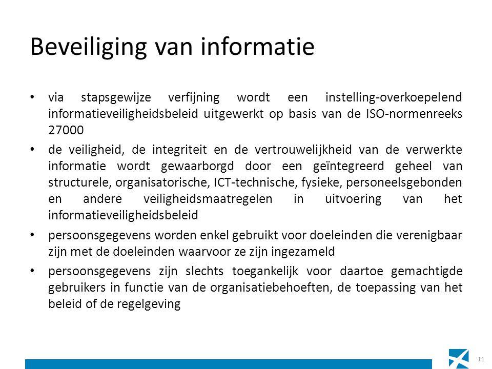Beveiliging van informatie via stapsgewijze verfijning wordt een instelling-overkoepelend informatieveiligheidsbeleid uitgewerkt op basis van de ISO-n
