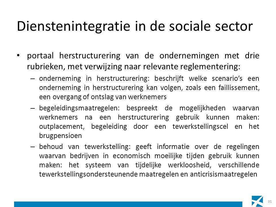 Dienstenintegratie in de sociale sector portaal herstructurering van de ondernemingen met drie rubrieken, met verwijzing naar relevante reglementering