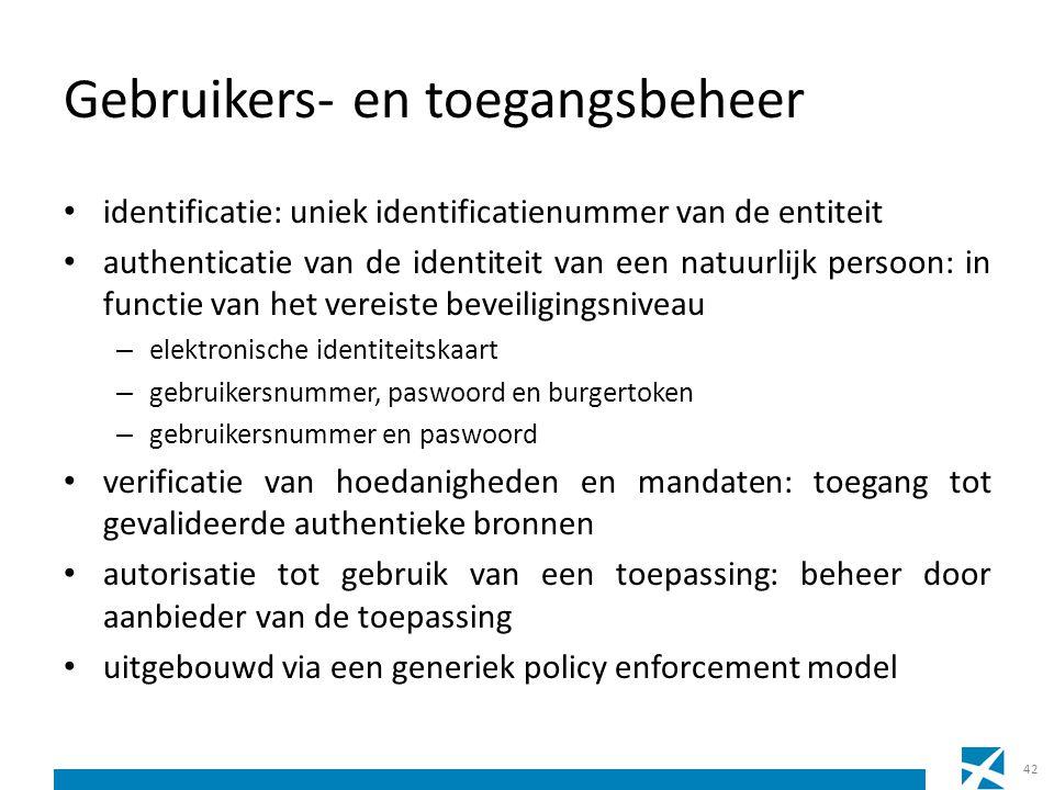 Gebruikers- en toegangsbeheer identificatie: uniek identificatienummer van de entiteit authenticatie van de identiteit van een natuurlijk persoon: in