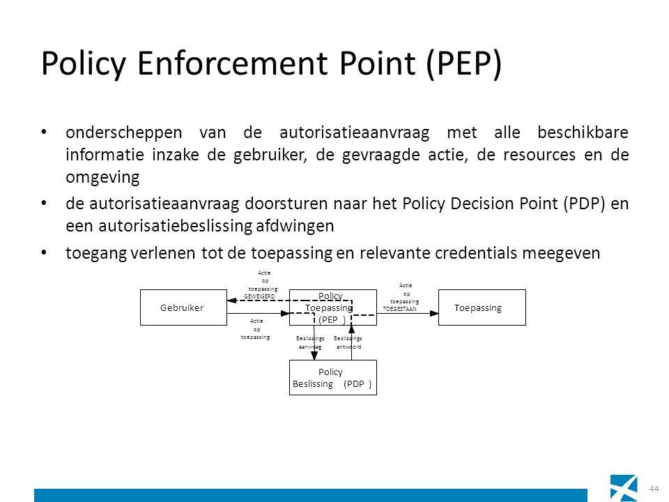 Policy Enforcement Point (PEP) onderscheppen van de autorisatieaanvraag met alle beschikbare informatie inzake de gebruiker, de gevraagde actie, de re