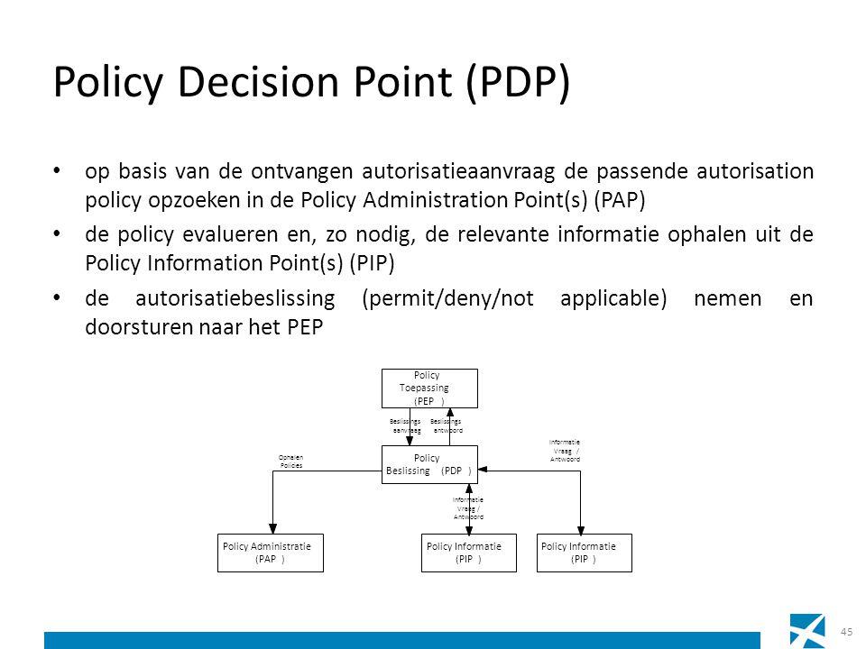 Policy Decision Point (PDP) op basis van de ontvangen autorisatieaanvraag de passende autorisation policy opzoeken in de Policy Administration Point(s