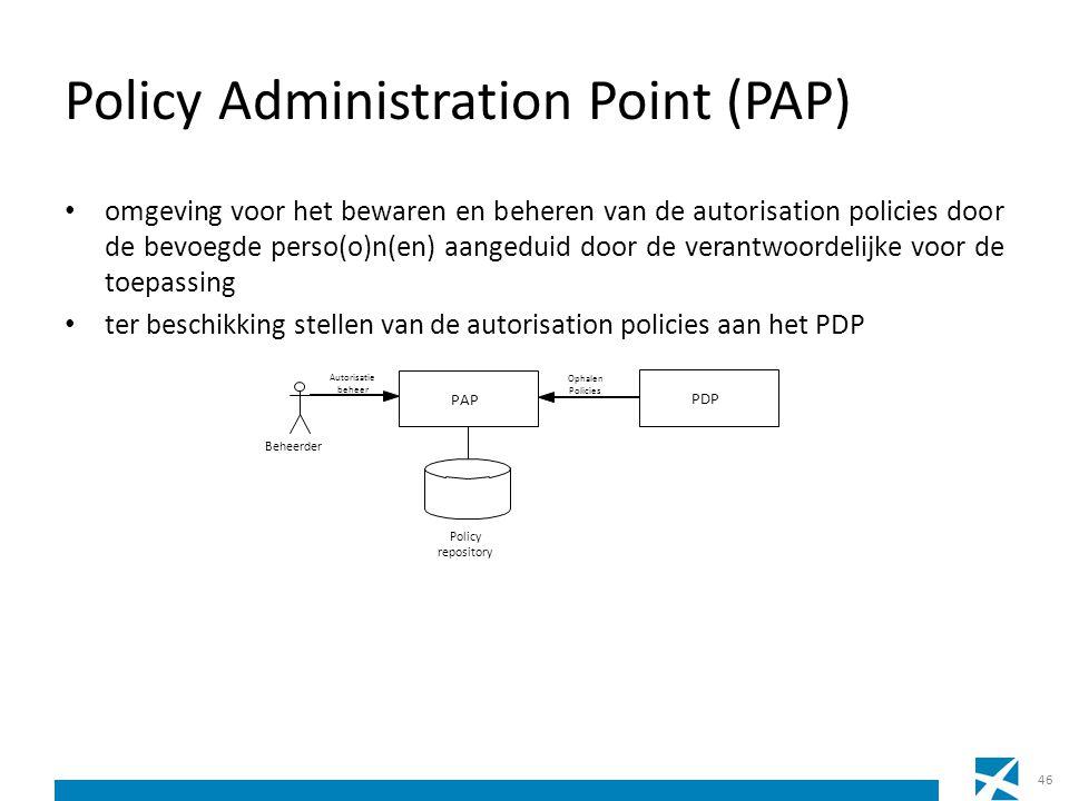 Policy Administration Point (PAP) omgeving voor het bewaren en beheren van de autorisation policies door de bevoegde perso(o)n(en) aangeduid door de v
