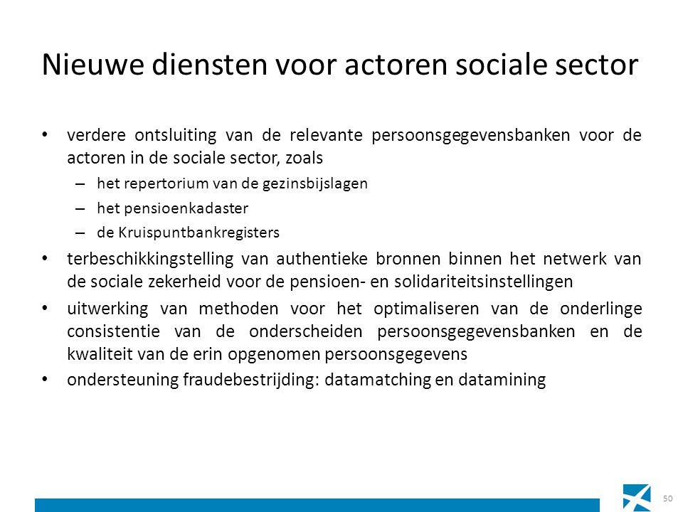 Nieuwe diensten voor actoren sociale sector verdere ontsluiting van de relevante persoonsgegevensbanken voor de actoren in de sociale sector, zoals –