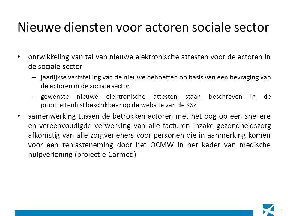 Nieuwe diensten voor actoren sociale sector ontwikkeling van tal van nieuwe elektronische attesten voor de actoren in de sociale sector – jaarlijkse v