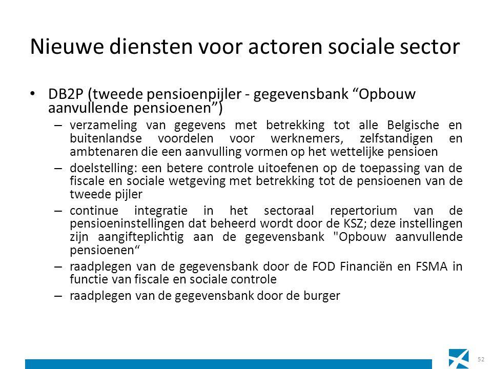 """Nieuwe diensten voor actoren sociale sector DB2P (tweede pensioenpijler - gegevensbank """"Opbouw aanvullende pensioenen"""") – verzameling van gegevens met"""