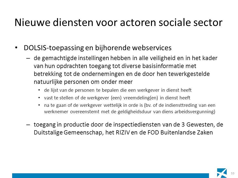 Nieuwe diensten voor actoren sociale sector DOLSIS-toepassing en bijhorende webservices – de gemachtigde instellingen hebben in alle veiligheid en in