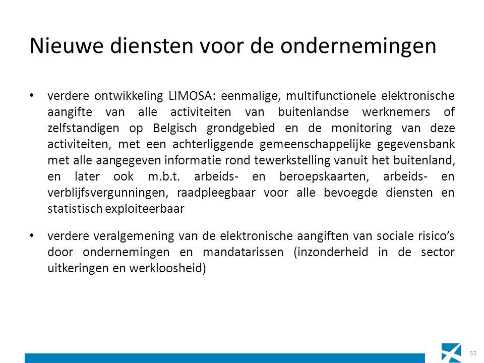 Nieuwe diensten voor de ondernemingen verdere ontwikkeling LIMOSA: eenmalige, multifunctionele elektronische aangifte van alle activiteiten van buiten