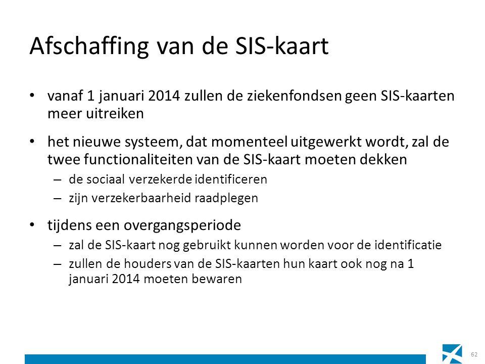 Afschaffing van de SIS-kaart vanaf 1 januari 2014 zullen de ziekenfondsen geen SIS-kaarten meer uitreiken het nieuwe systeem, dat momenteel uitgewerkt