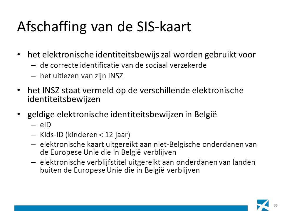 Afschaffing van de SIS-kaart het elektronische identiteitsbewijs zal worden gebruikt voor – de correcte identificatie van de sociaal verzekerde – het