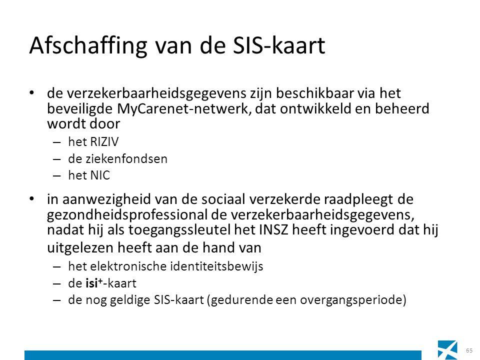 Afschaffing van de SIS-kaart de verzekerbaarheidsgegevens zijn beschikbaar via het beveiligde MyCarenet-netwerk, dat ontwikkeld en beheerd wordt door