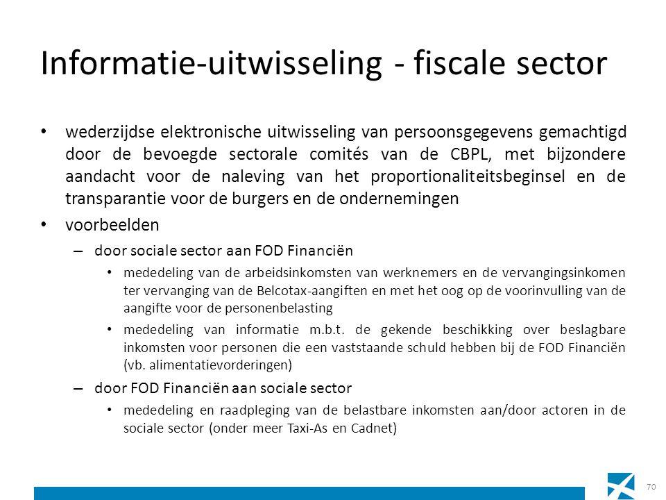 Informatie-uitwisseling - fiscale sector wederzijdse elektronische uitwisseling van persoonsgegevens gemachtigd door de bevoegde sectorale comités van