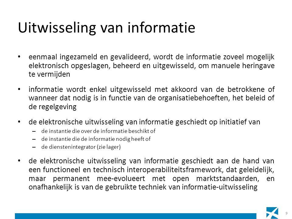 Uitwisseling van informatie de beschikbare informatie wordt proactief gebruikt voor – de automatische toekenning van rechten – de voorinvulling bij informatie-inzameling – de informatieverstrekking aan de betrokkenen 10