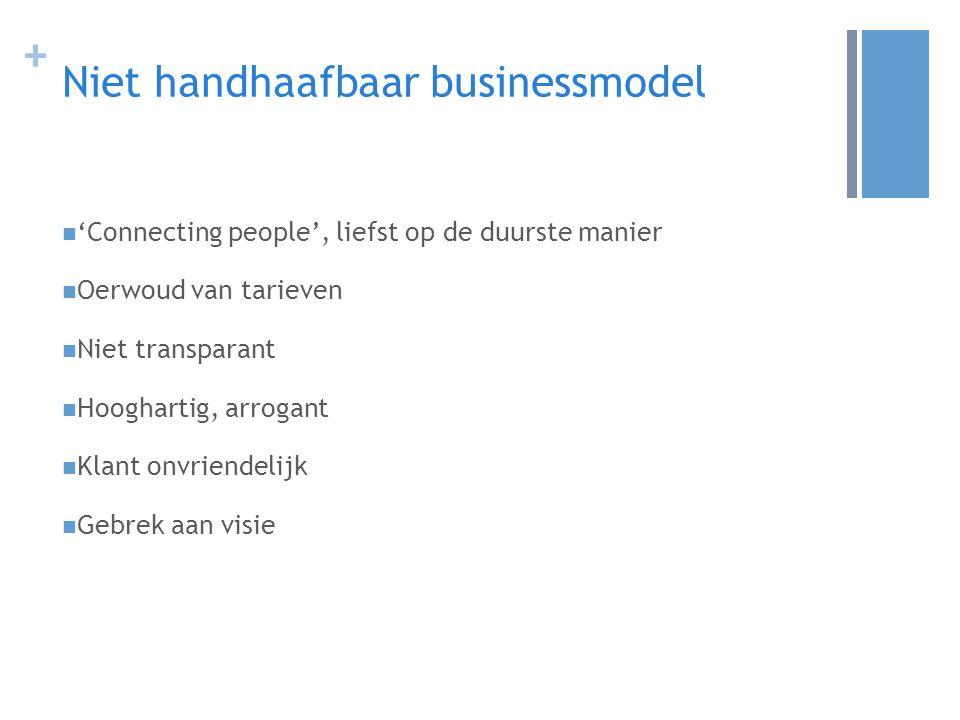 + Niet handhaafbaar businessmodel 'Connecting people', liefst op de duurste manier Oerwoud van tarieven Niet transparant Hooghartig, arrogant Klant onvriendelijk Gebrek aan visie