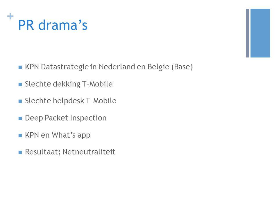 + PR drama's KPN Datastrategie in Nederland en Belgie (Base) Slechte dekking T-Mobile Slechte helpdesk T-Mobile Deep Packet Inspection KPN en What's app Resultaat; Netneutraliteit