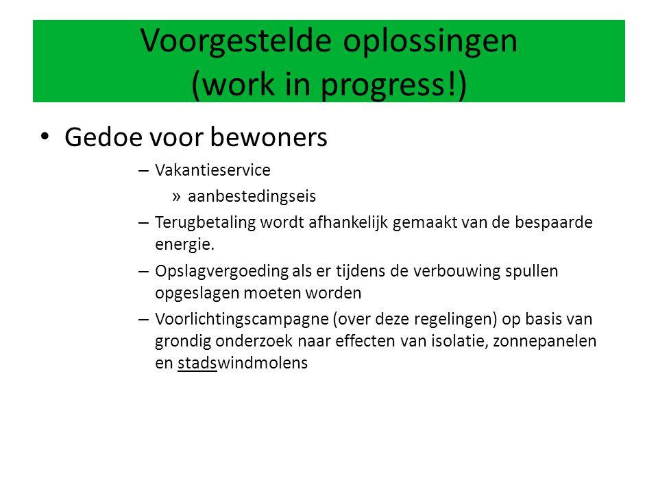 Voorgestelde oplossingen (work in progress!) Gedoe voor bewoners – Vakantieservice » aanbestedingseis – Terugbetaling wordt afhankelijk gemaakt van de bespaarde energie.