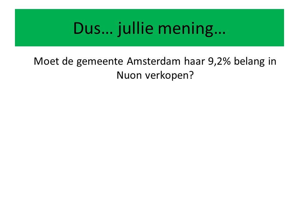Dus… jullie mening… Moet de gemeente Amsterdam haar 9,2% belang in Nuon verkopen?
