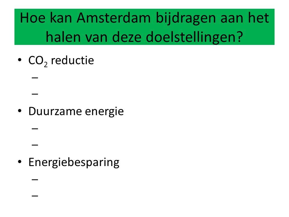 CO 2 reductie – Duurzame energie – Energiebesparing – Hoe kan Amsterdam bijdragen aan het halen van deze doelstellingen?