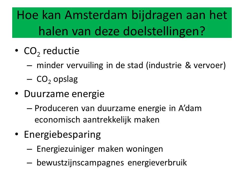 CO 2 reductie – minder vervuiling in de stad (industrie & vervoer) – CO 2 opslag Duurzame energie – Produceren van duurzame energie in A'dam economisch aantrekkelijk maken Energiebesparing – Energiezuiniger maken woningen – bewustzijnscampagnes energieverbruik Hoe kan Amsterdam bijdragen aan het halen van deze doelstellingen?