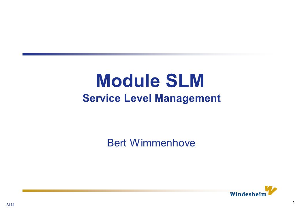 SLM 1 Module SLM Service Level Management Bert Wimmenhove