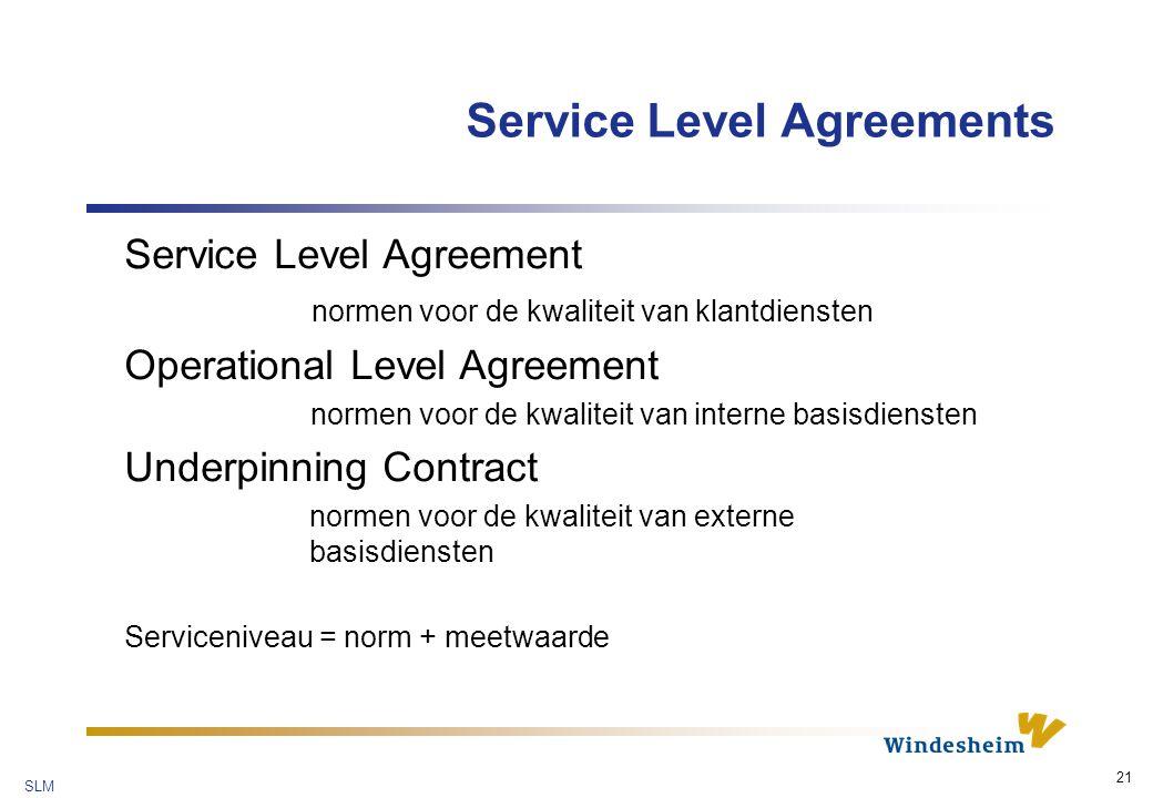 SLM 21 Service Level Agreements Service Level Agreement normen voor de kwaliteit van klantdiensten Operational Level Agreement normen voor de kwaliteit van interne basisdiensten Underpinning Contract normen voor de kwaliteit van externe basisdiensten Serviceniveau = norm + meetwaarde