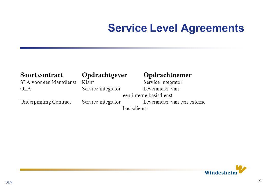 SLM 22 Service Level Agreements Soort contract Opdrachtgever Opdrachtnemer SLA voor een klantdienst Klant Service integrator OLA Service integrator Leverancier van een interne basisdienst Underpinning Contract Service integratorLeverancier van een externe basisdienst