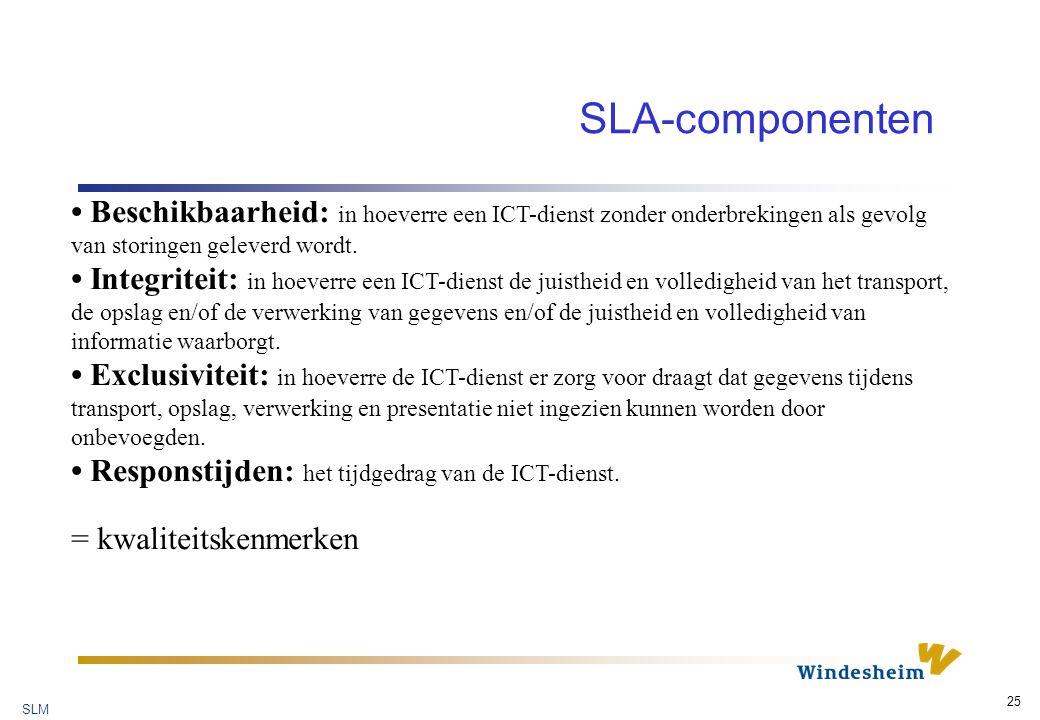 SLM 25 SLA-componenten Beschikbaarheid: in hoeverre een ICT-dienst zonder onderbrekingen als gevolg van storingen geleverd wordt.