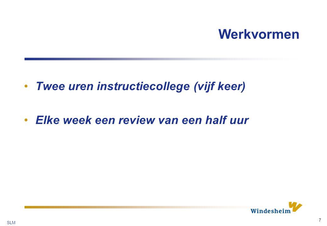 SLM 7 Werkvormen Twee uren instructiecollege (vijf keer) Elke week een review van een half uur