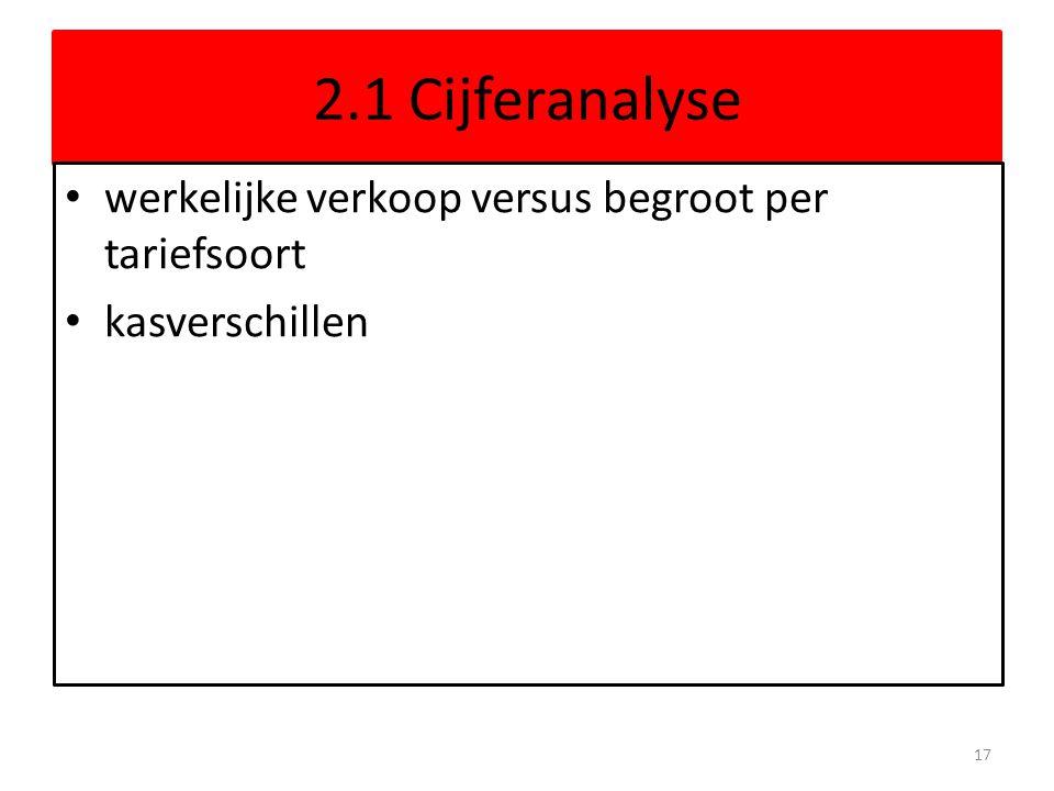 2.1 Cijferanalyse werkelijke verkoop versus begroot per tariefsoort kasverschillen 17