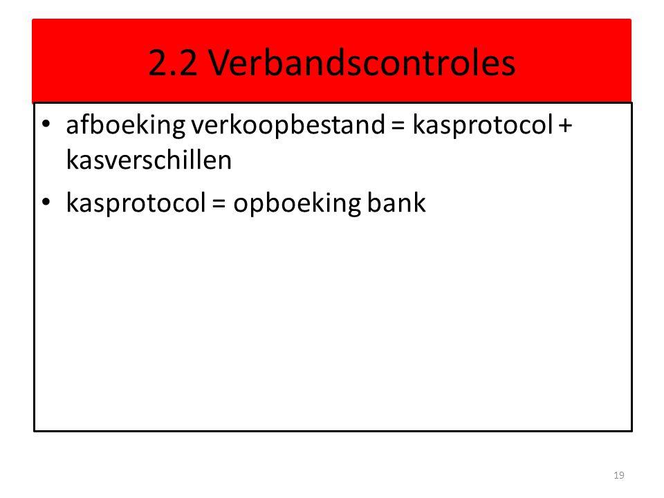 2.2 Verbandscontroles afboeking verkoopbestand = kasprotocol + kasverschillen kasprotocol = opboeking bank 19
