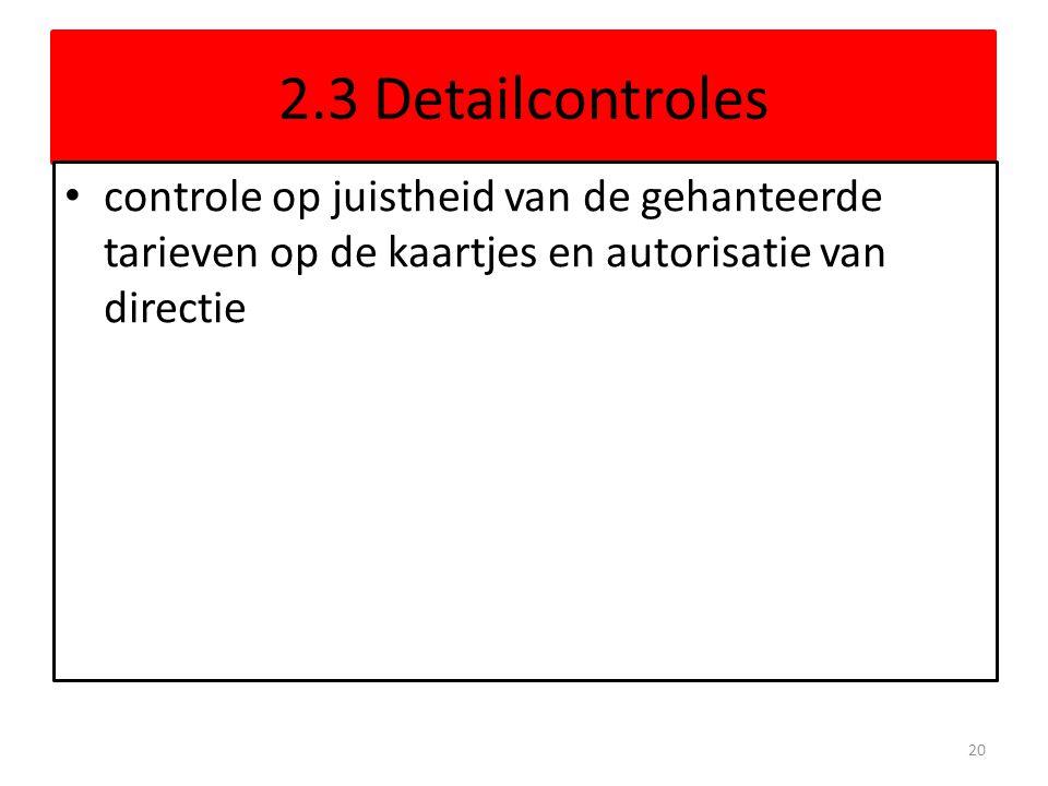 2.3 Detailcontroles controle op juistheid van de gehanteerde tarieven op de kaartjes en autorisatie van directie 20