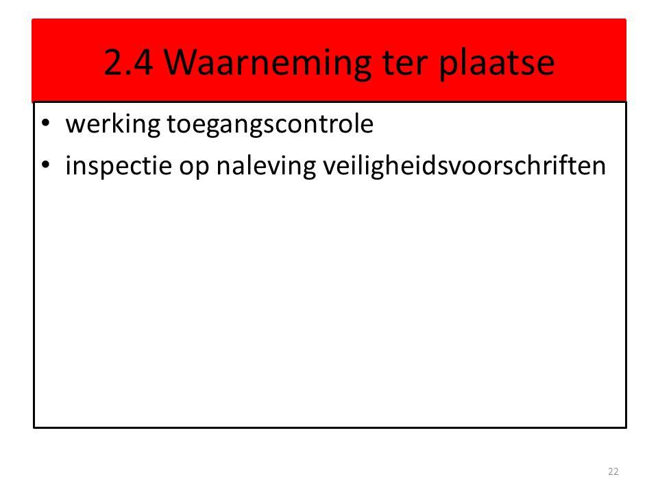 2.4 Waarneming ter plaatse werking toegangscontrole inspectie op naleving veiligheidsvoorschriften 22