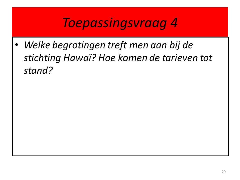 Toepassingsvraag 4 Welke begrotingen treft men aan bij de stichting Hawaï? Hoe komen de tarieven tot stand? 29