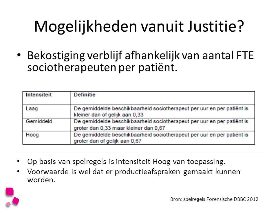 Mogelijkheden vanuit Justitie? Bekostiging verblijf afhankelijk van aantal FTE sociotherapeuten per patiënt. Op basis van spelregels is intensiteit Ho