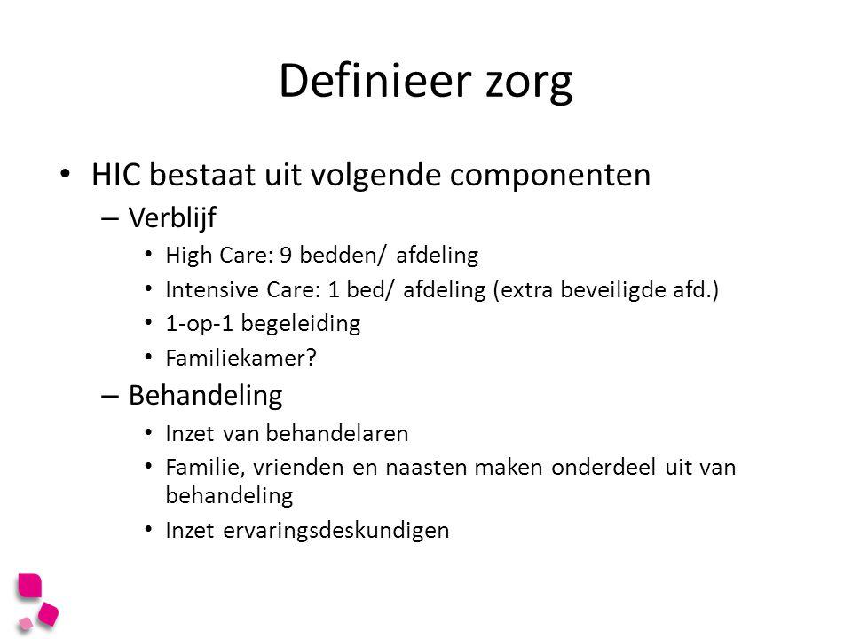Definieer zorg HIC bestaat uit volgende componenten – Verblijf High Care: 9 bedden/ afdeling Intensive Care: 1 bed/ afdeling (extra beveiligde afd.) 1
